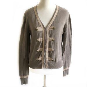 CAbi   cotton cardigan. #281 military style beige
